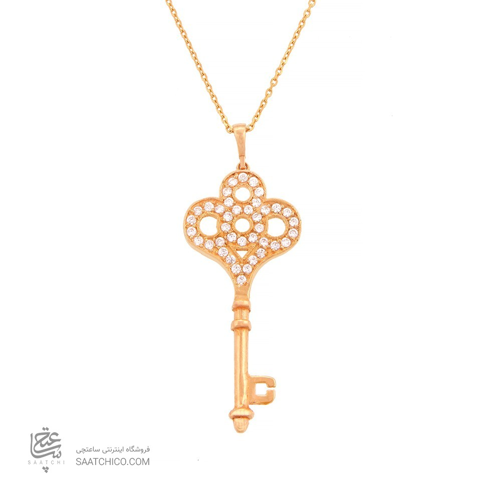 آویز طلا زنانه طرح کلید با نگین های cz کد CP303