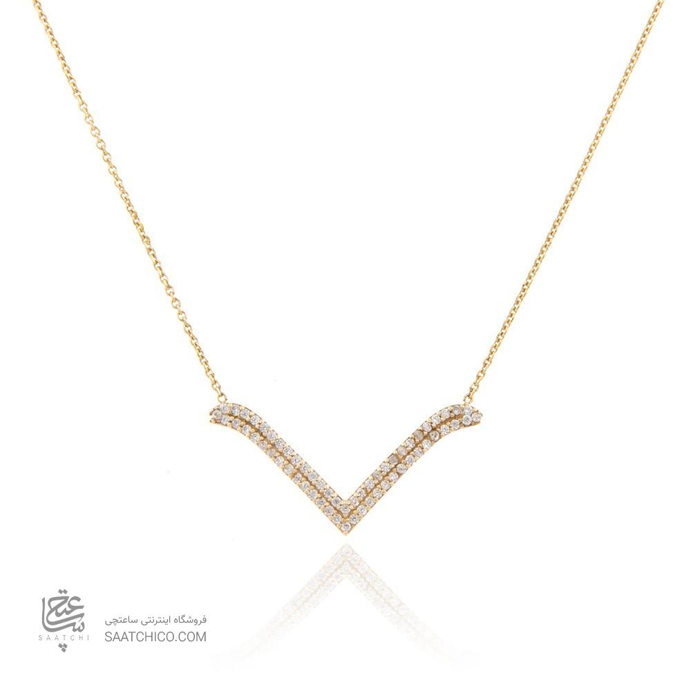گردنبند طلا زنانه طرح کلاسیک با نگین های cz کد CN302