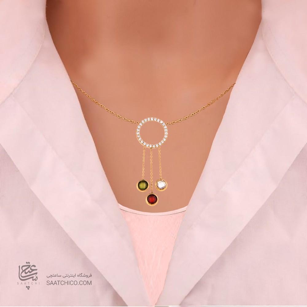 گردنبند طلا زنانه طرح هندسی با نگین های cz کد CN303