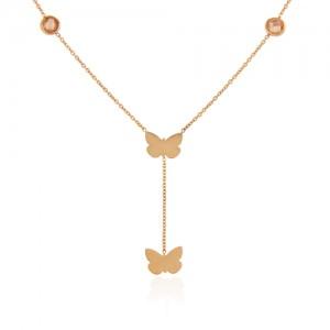 گردنبند طلا زنانه طرح پروانه کد cn304