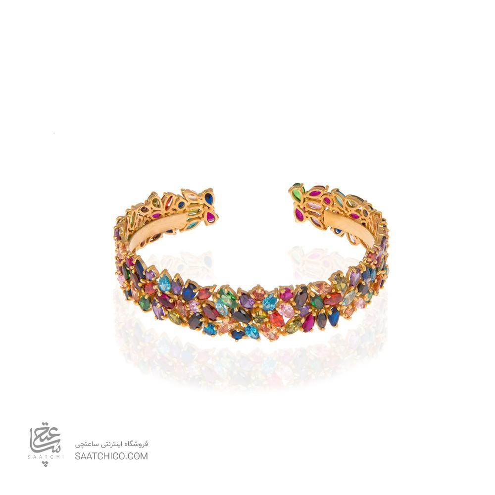 دستبند طلا زنانه مولتی کالر با نگین کد cb308