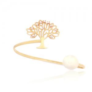 دستبند طلا زنانه طرح درخت زندگی با نگین و مروارید کد CB311