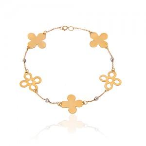دستبند طلا زنانه طرح گل کد CB314