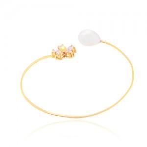 دستبند طلا زنانه طرح گل با نگین و مروارید کد cb317