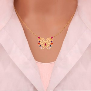 گردنبند طلا زنانه طرح پروانه با نگین های cz کد CN306