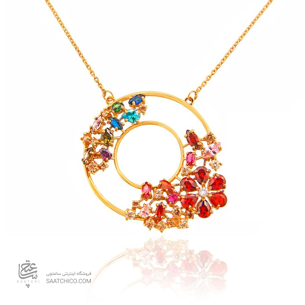 گردنبند طلا زنانه طرح هندسی با نگین های cz، کد CN307