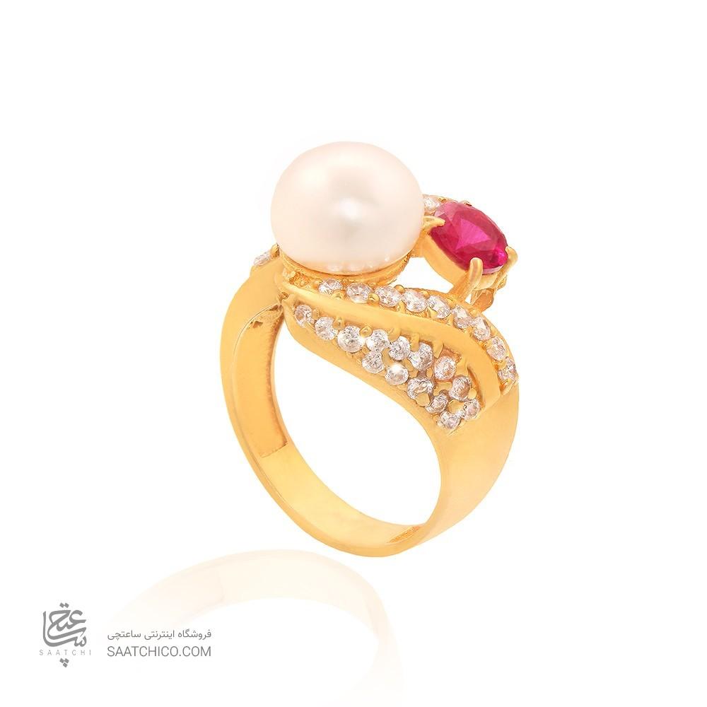انگشتر طلا زنانه با نگین cz و مروارید کد cr348