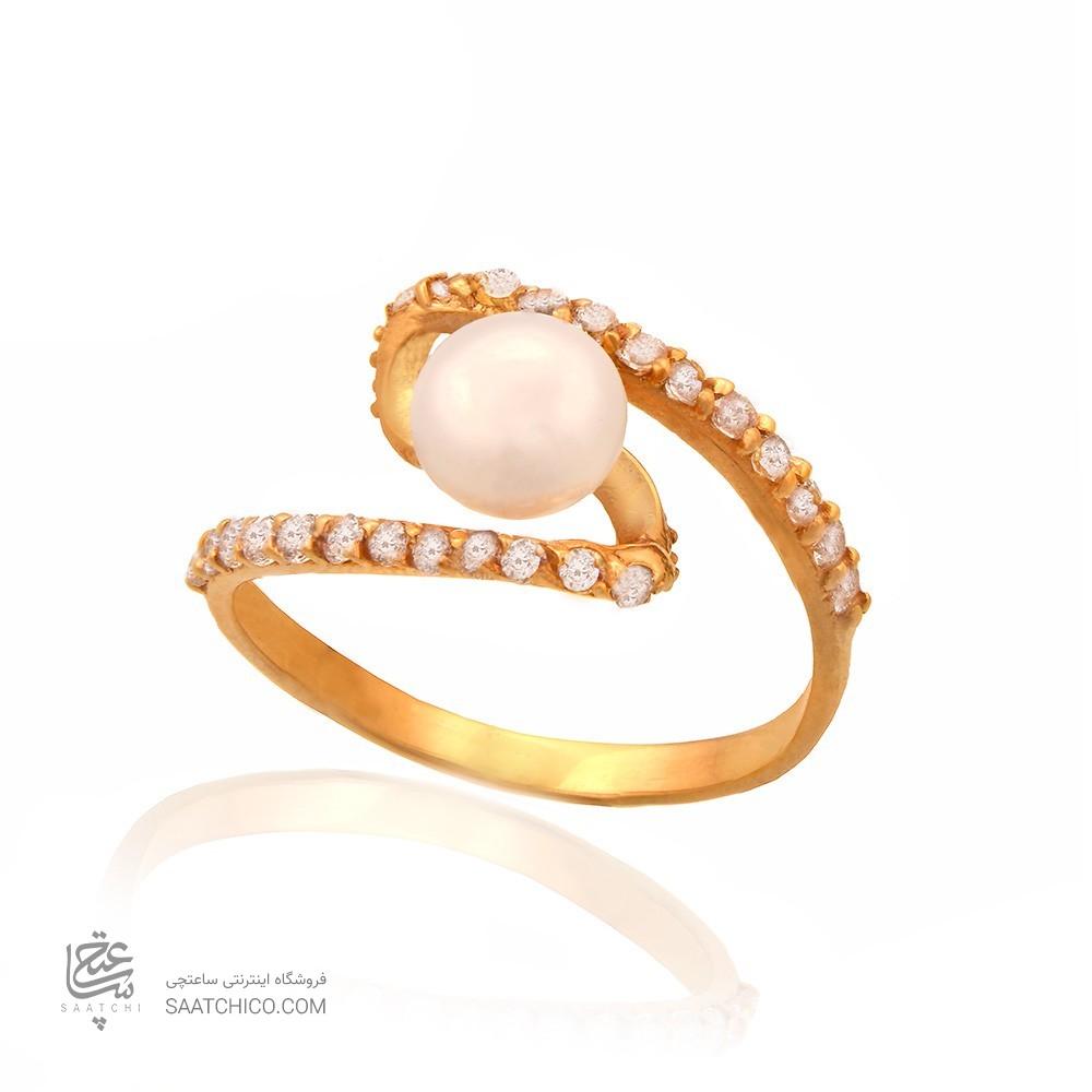 انگشتر طلا زنانه با نگین و مروارید کد cr349