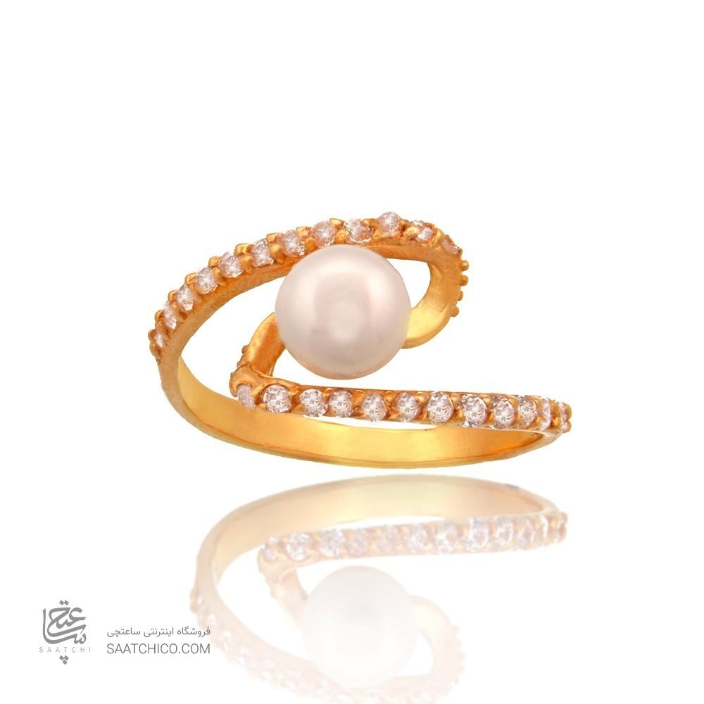 انگشتر طلا زنانه با نگین cz و مروارید کد cr349