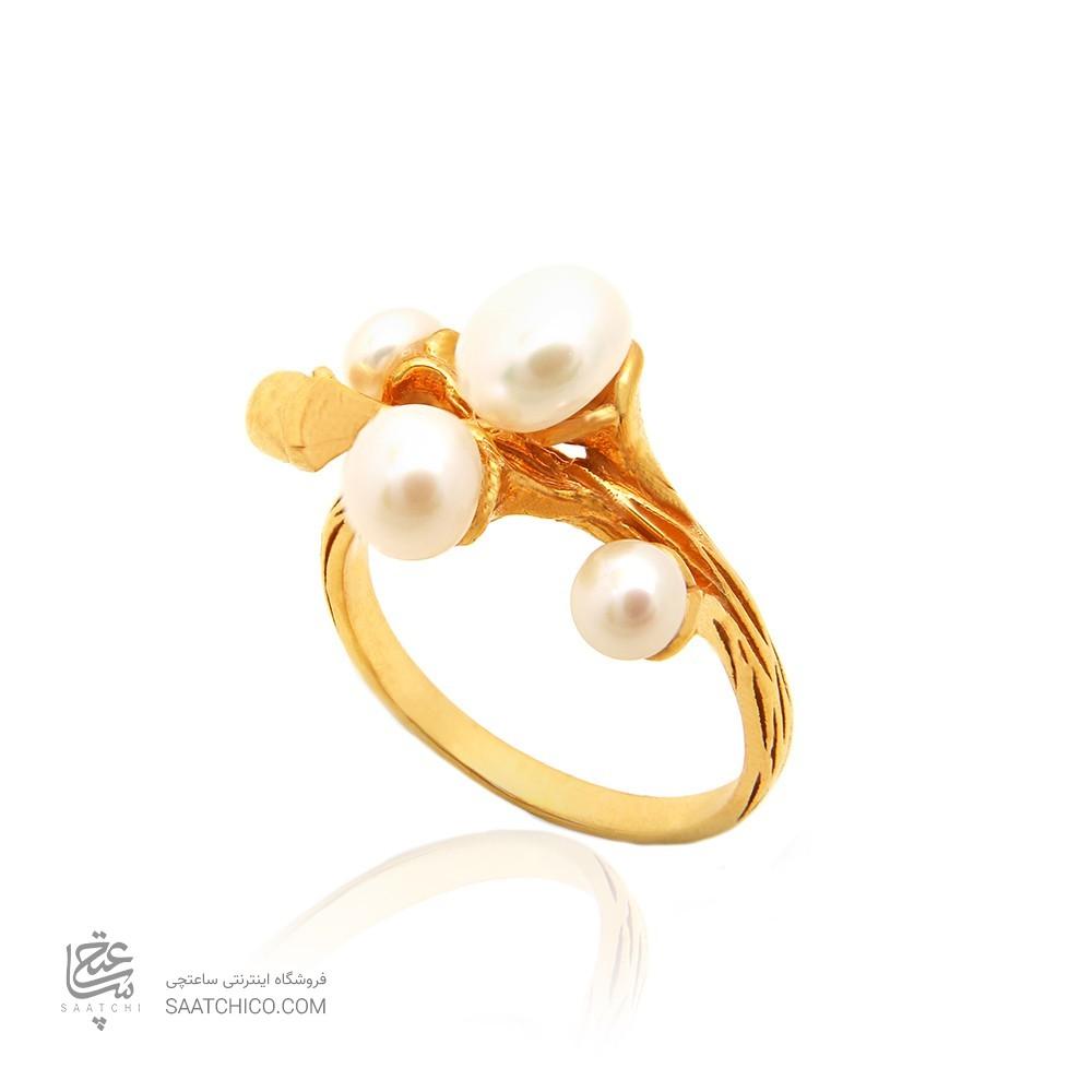 انگشتر طلا زنانه با مروارید کد cr352