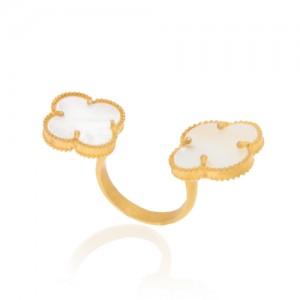 انگشتر طلا زنانه طرح گل چهار پر ونگلیف کد cr354
