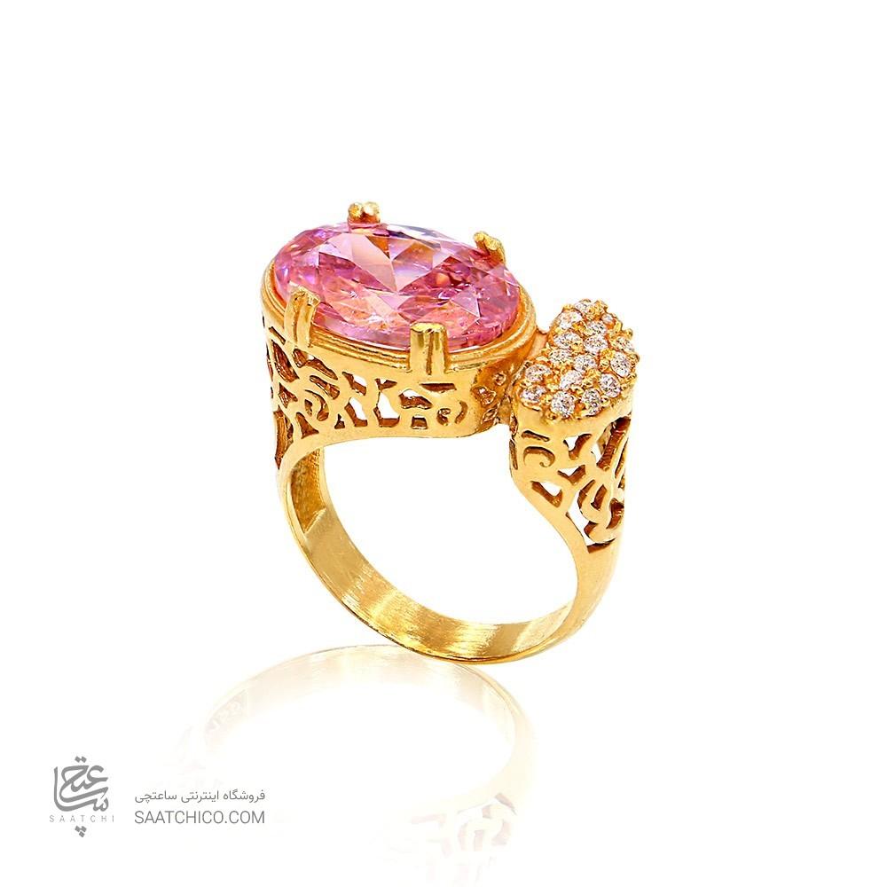 انگشتر طلا زنانه با سنگ cz کد cr356