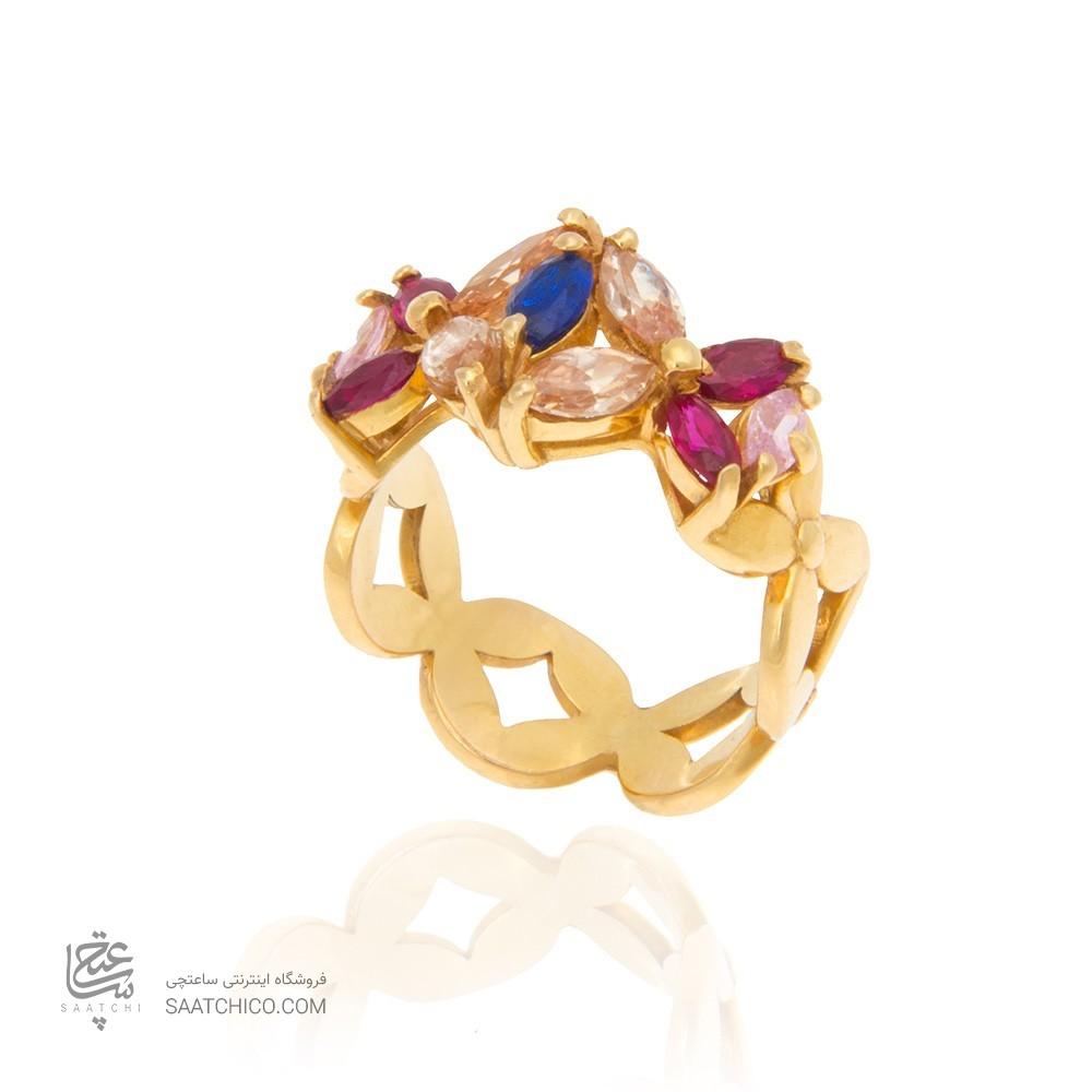 انگشتر طلا زنانه با نگین مولتی کالر کد cr358
