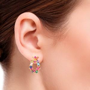 گوشواره طلا زنانه طرح هندسی با نگین های کد CE322