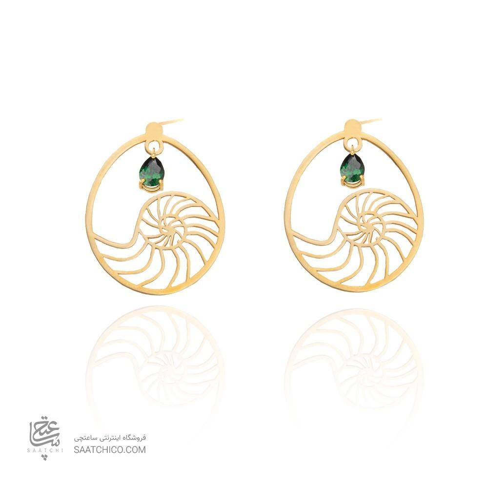 گوشواره طلا زنانه طرح اسلیمی با سنگ کد XE104