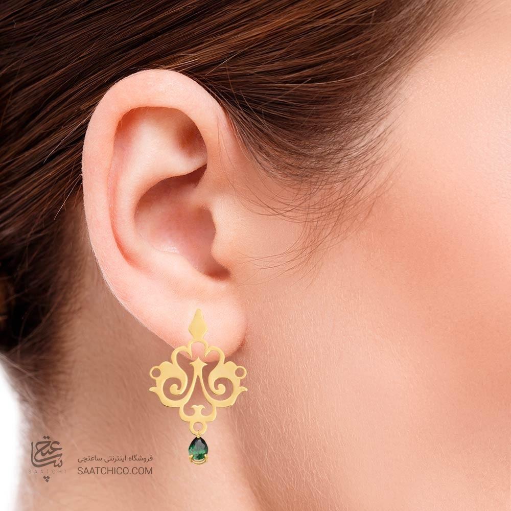 گوشواره طلا زنانه طرح اسلیمی با سنگ cz کد XE105