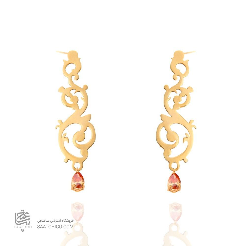 گوشواره طلا زنانه طرح اسلیمی با سنگ کد XE106