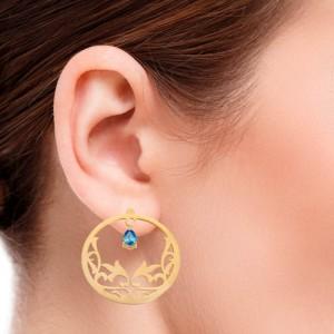 گوشواره طلا زنانه طرح اسلیمی با سنگ کد xe109