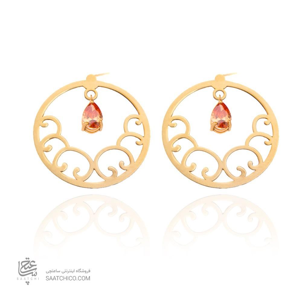 گوشواره طلا زنانه طرح اسلیمی با سنگ کد xe110