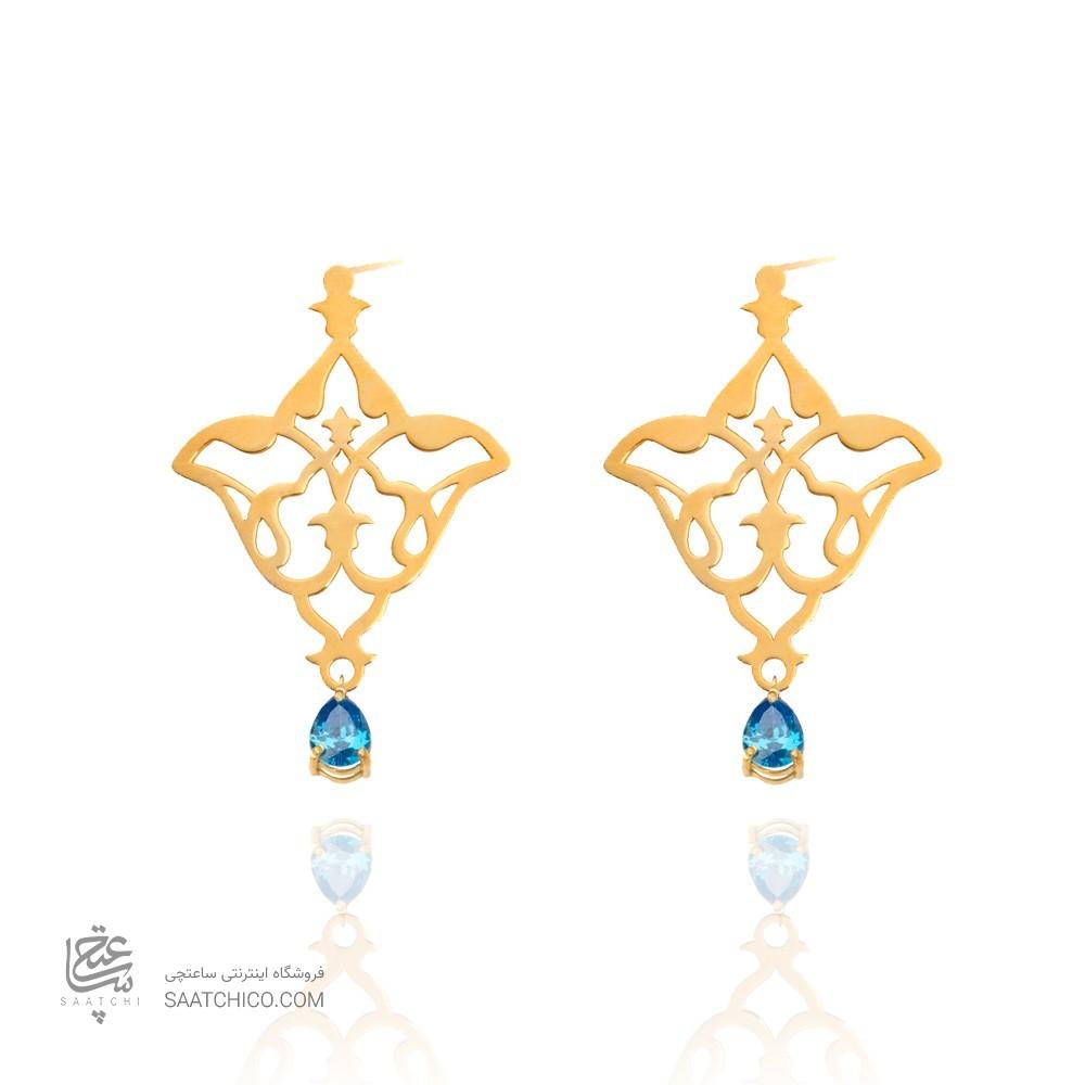 گوشواره طلا زنانه طرح اسلیمی با سنگ کدxe111