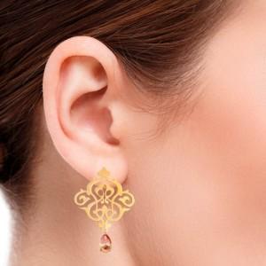 گوشواره طلا زنانه طرح اسلیمی با سنگ کد xe112