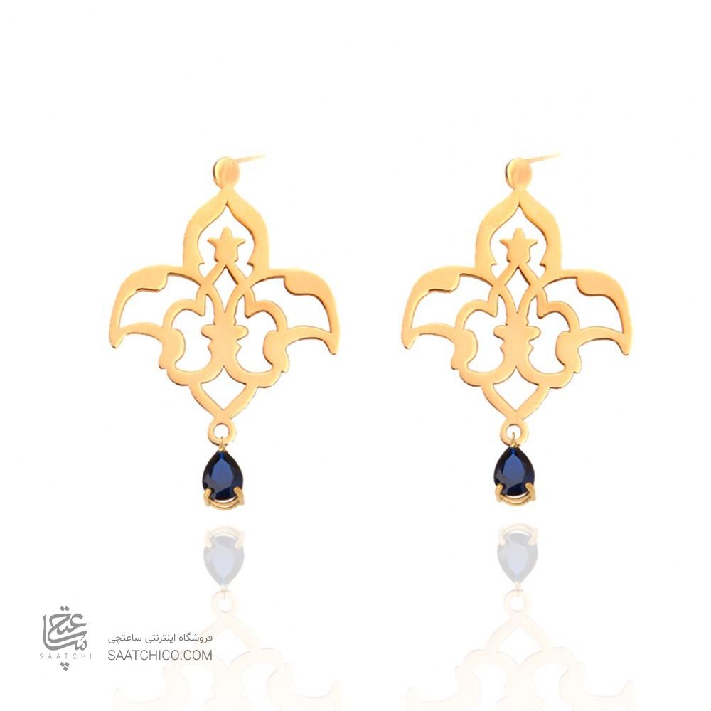 گوشواره طلا زنانه طرح اسلیمی با سنگ کد xe113