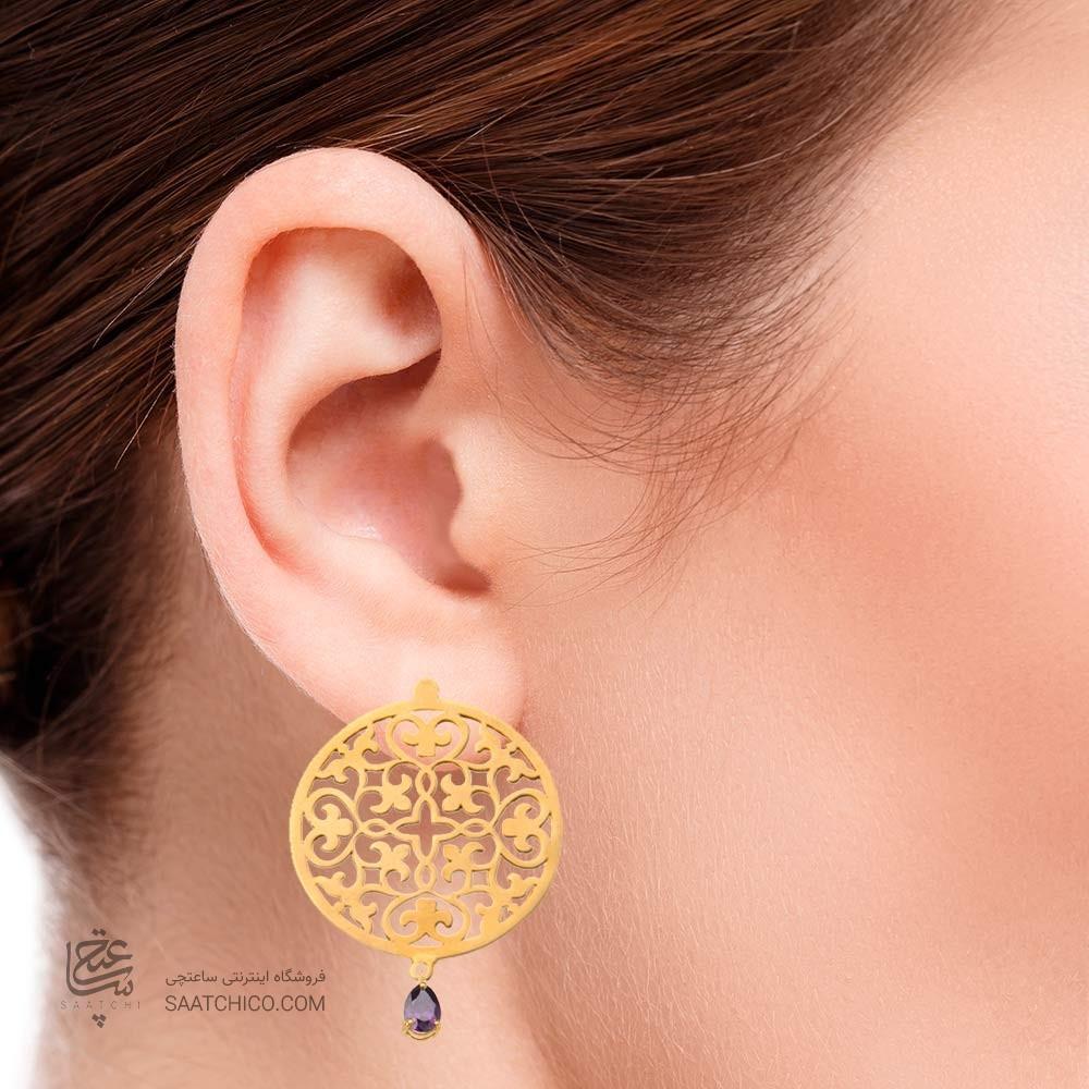 گوشواره طلا زنانه طرح اسلیمی با سنگ کد xe115