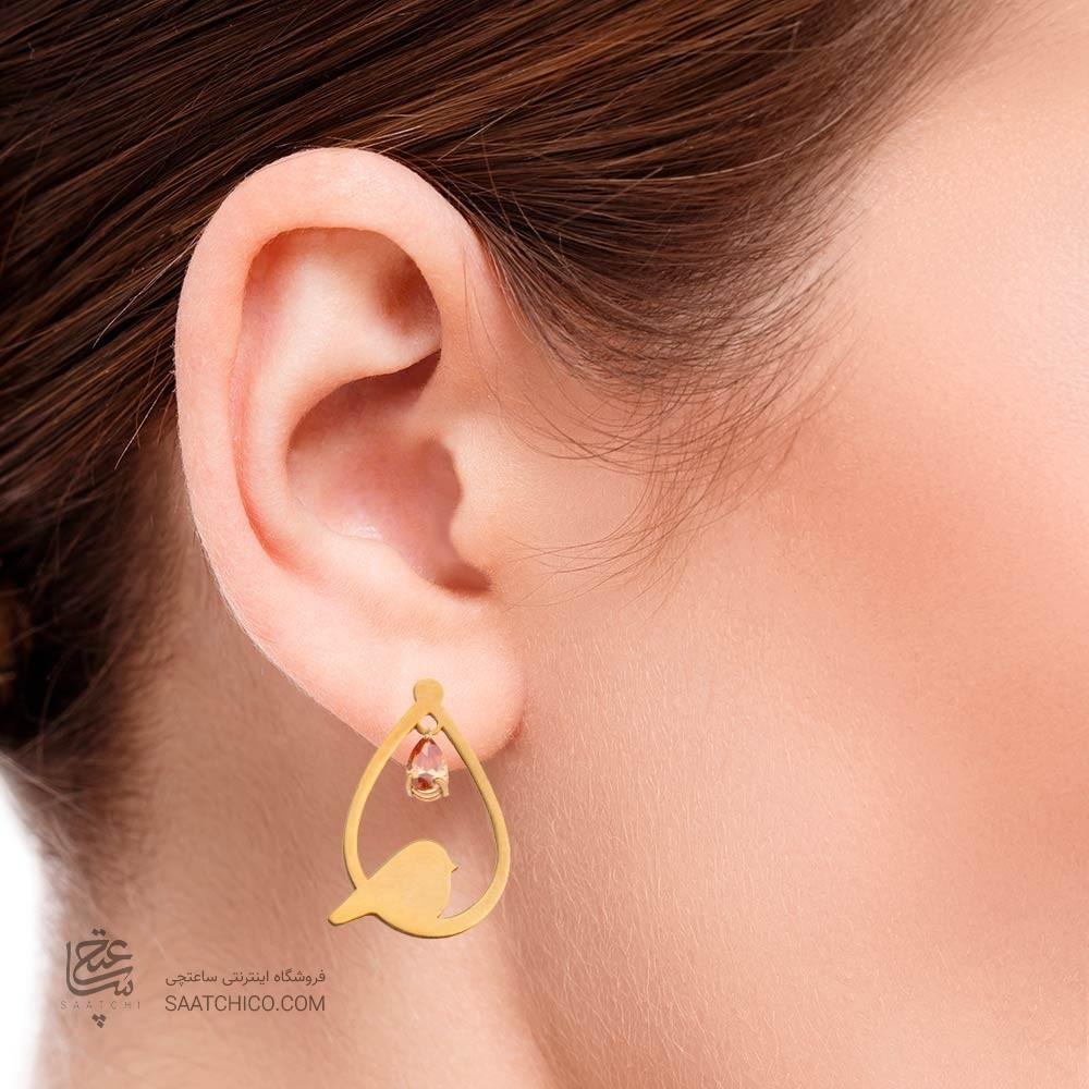 گوشواره طلا زنانه طرح لانه پرنده با سنگ cz کد XE116