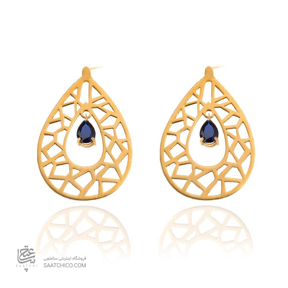 گوشواره طلا زنانه طرح اسلیمی با سنگ کد xe118