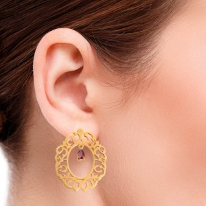 گوشواره طلا زنانه طرح اسلیمی با سنگ کد xe119