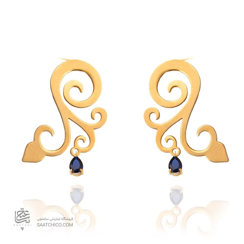 گوشواره طلا زنانه طرح اسلیمی با سنگ کد xe120