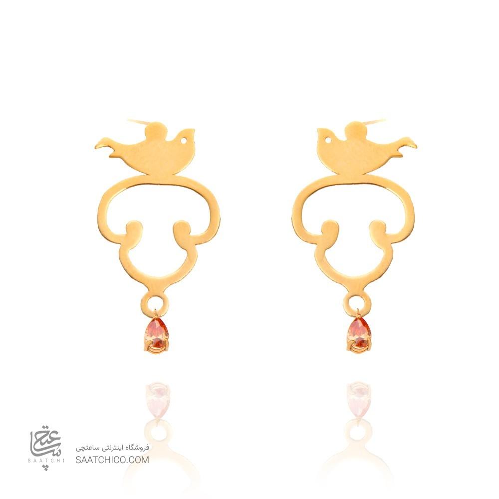 گوشواره طلا زنانه طرح پرنده با سنگ کد xe121