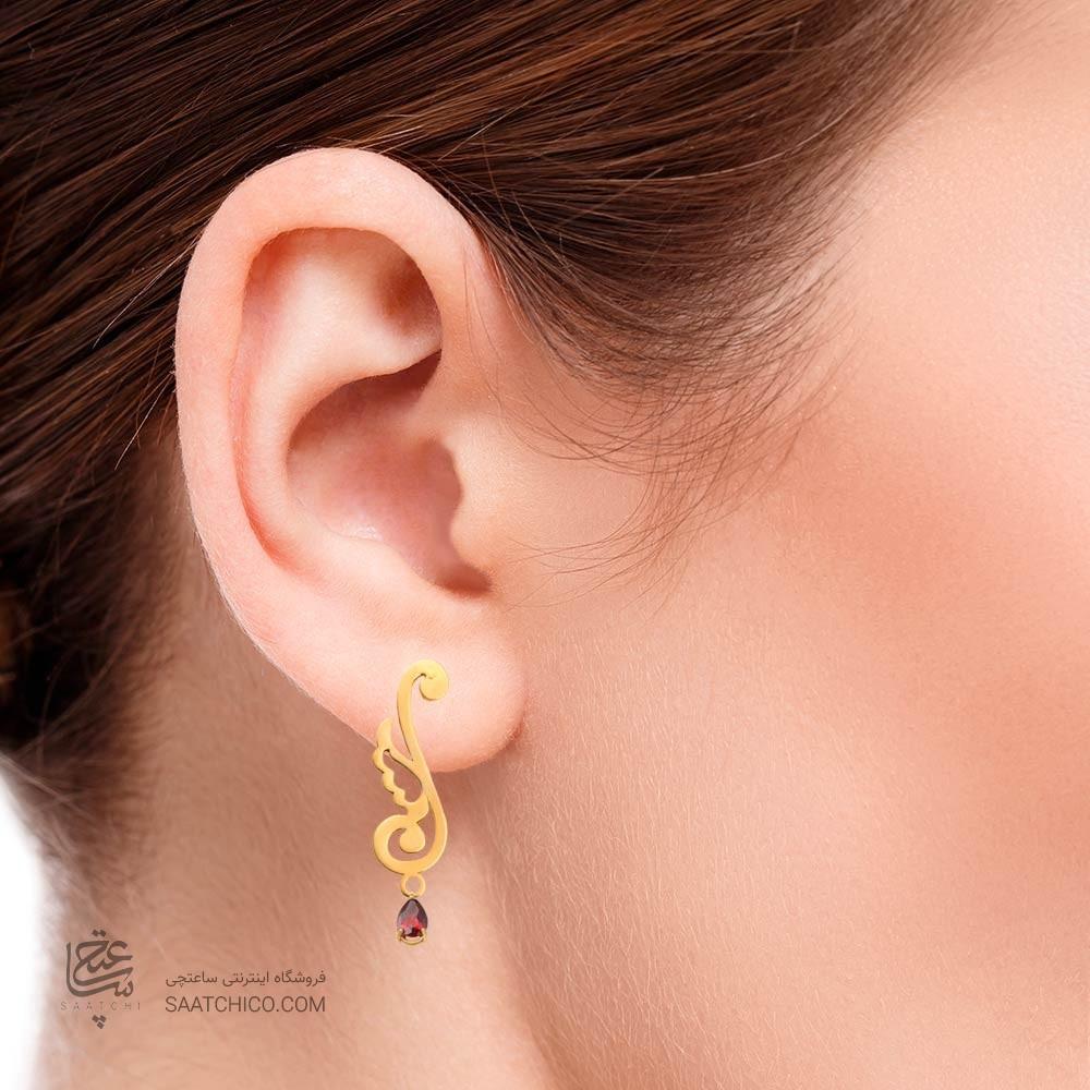 گوشواره طلا زنانه طرح اسلیمی با سنگ کد xe123