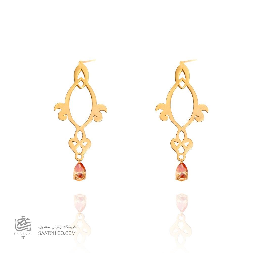 گوشواره طلا زنانه طرح اسلیمی با سنگ کد xe125