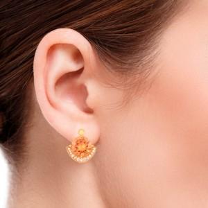 گوشواره طلا زنانه با نگین و سنگ کد xe126