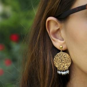 گوشواره طلا زنانه با مروارید کد xe202