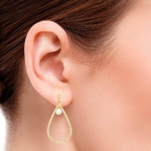 گوشواره طلا زنانه طرح اشک با نگین و مروارید کد xe203