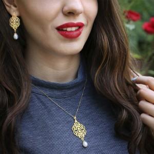 گوشواره طلا زنانه طرح اسلیمی با مروارید کد xe205