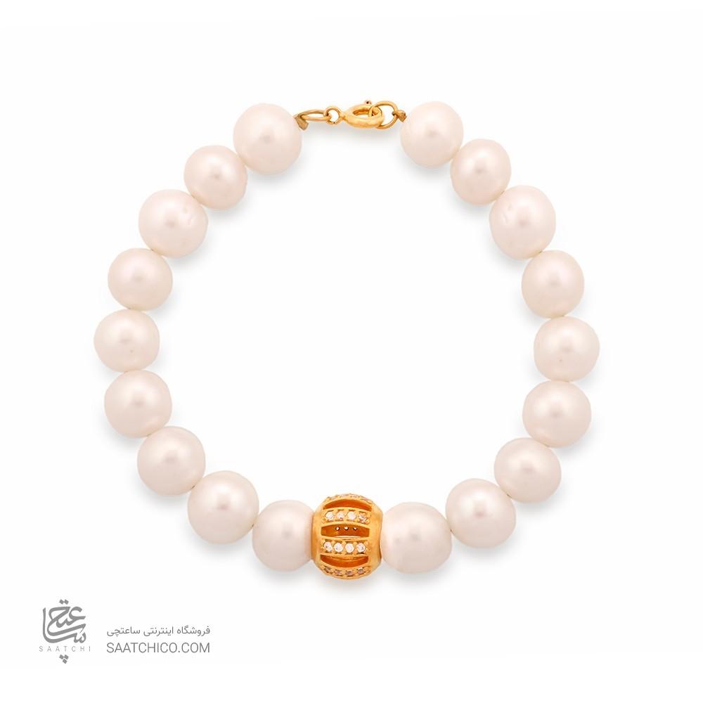 دستبند طلا زنانه با گوی نگیندار طلا و بند مروارید کد XB702