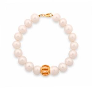 دستبند طلا زنانه با گوی نگین دار و بند مروارید کد XB702