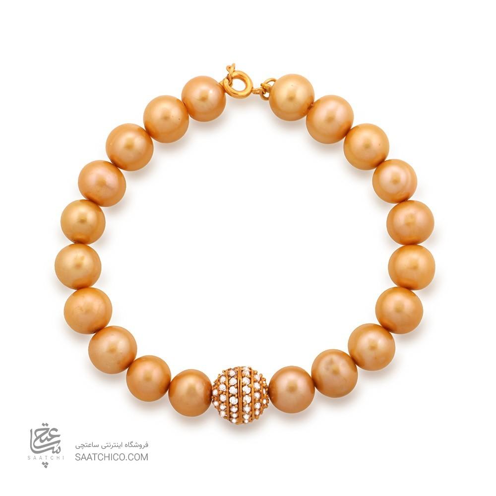 دستبند طلا زنانه با گوی طلا و نگین های cz و مروارید کد XB703
