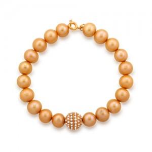 دستبند طلا زنانه با گوی نگین دار و مروارید کد XB703