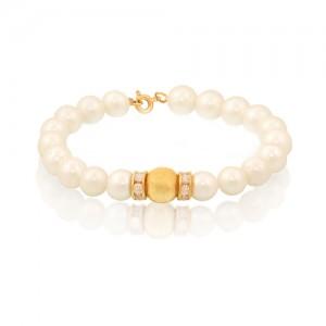 دستبند طلا زنانه با گوی طلا نگین دار و مروارید کد XB704