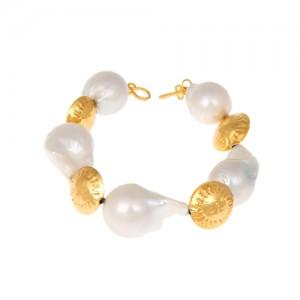 دستبند طلا زنانه طرح صدف با مروارید کد XB705