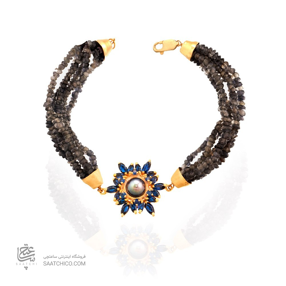 دستبند طلا زنانه طرح گل با نگین های cz و مروارید کد XB801