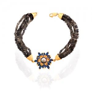 دستبند طلا زنانه طرح گل با نگین و مروارید کد XB801
