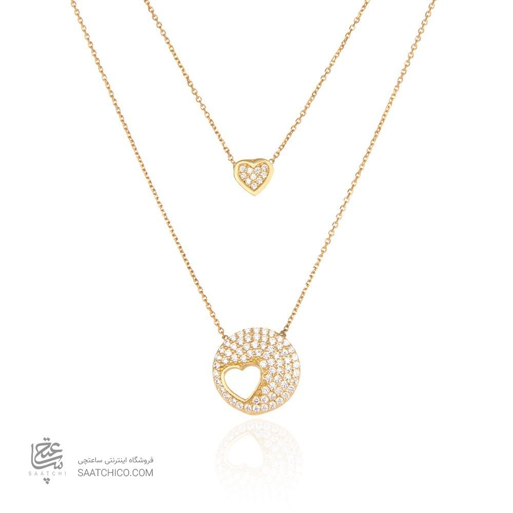 گردنبند طلا زنانه طرح قلب با نگین های cz کد CN309