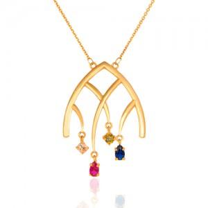 گردنبند طلا زنانه طرح هندسی با نگین های cz کد CN311
