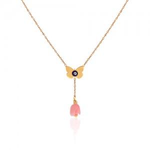 گردنبند طلا زنانه طرح پروانه چشم نظر با کد CN313