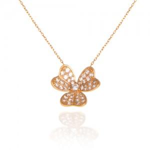 گردنبند طلا زنانه طرح گل سه پر با نگین های cz کد CN315